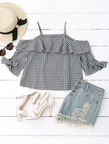 Ruffles Off Shoulder Cami Plaid Blouse - Checked L