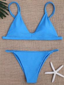Low Waisted Spaghetti Straps Bikini Swimwear - Blue M