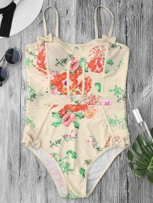 Shaping Floral Print One Piece Swimsuit - Palomino M