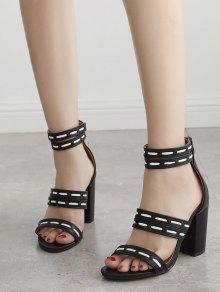 Faux Sandały Skórzane Paski Skórzane