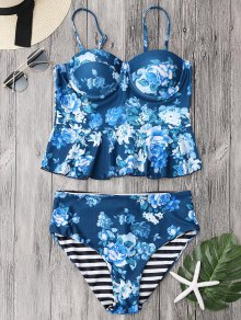 Cupped Tankini Top And High Rise Bottoms - Blue M