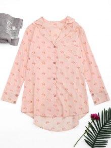 High Low Flamingo Print Loungewear Shirt