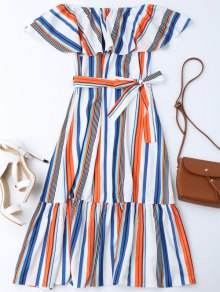 Flounce Striped Belted Dress