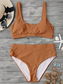 Midi Bralette Scoop Bikini Set - Brown S