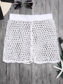 Crochet Fishnet Beach Cover Up Shorts - White M
