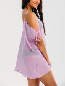 Cold Shoulder See Through Cover Up Dress