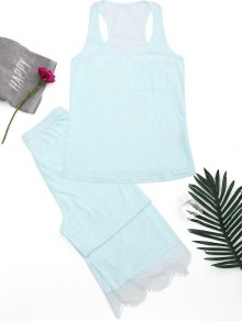 Racerback Lace Panel Loungewear Suit