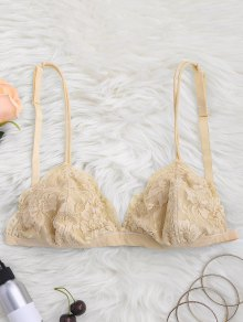 Strappy Floral Lace Bralette Top - Yellowish Pink M