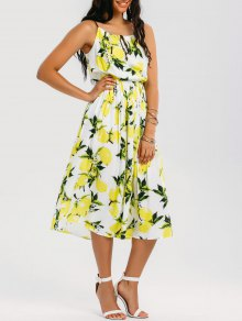 High Neck Lemon Midi Beach Dress