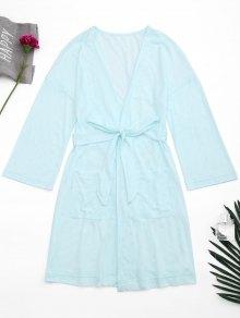 Kimono Belted Pockets Night Robe - Light Blue S