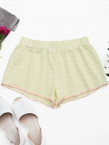 Hollow Out Loungewear Pom Shorts - Light Yellow S