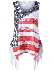 زائد حجم العلم الأمريكي مهدب تي شيرت - Xl