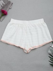 Hollow Out Loungewear Pom Shorts
