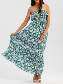 Printed Ruffles Maxi Tube Dress
