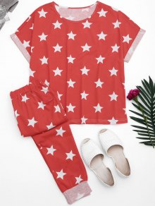 Loungewear Pentagram Star Print T-Shirt With Pants - Red Xl