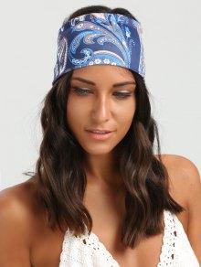 عصابة الرأس واسعة مرونة نمط الأزهار العرقية - أزرق