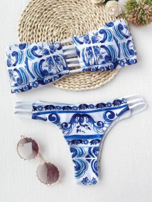 Porcelain Print Cutout Bandeau Bikini Set - Blue And White S