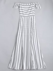 Off The Shoulder Slit Striped Maxi Dress