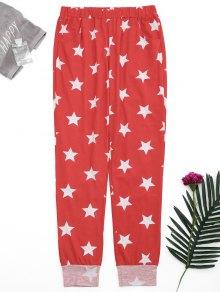Loungewear Pentagram Star Print Pants - Red Xl