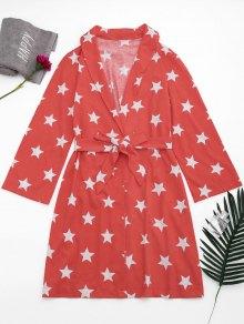 Wrap Pentagram Star Print Night Robe - Red S