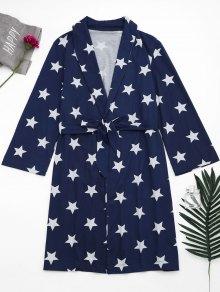 Wrap Pentagram Star Print Night Robe