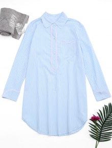 Arc Hem Striped Loungewear Shirt Dress