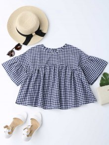 Drop Shoulder Checked Blouse