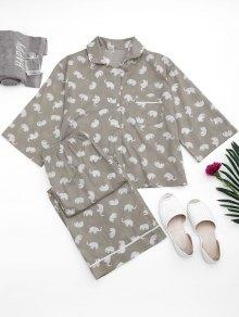 Loungewear Elephant Print Shirt with Pants