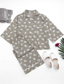 Loungewear Elephant Print Shirt with Pants