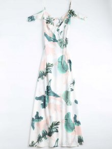 Leaves Print Cami Wrap Dress