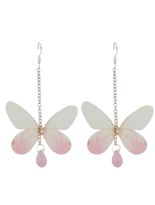 Acrylic Gem Butterfly Drop Earrings
