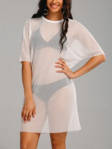 See Thru Mesh Sheer Cover Up Dress