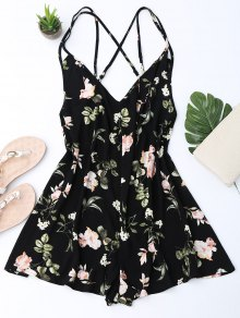Back Crossed Printed Romper - Black S