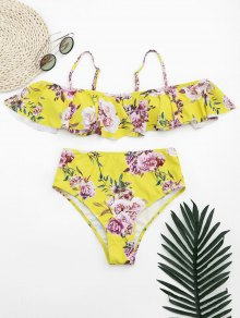 Ruffles Floral Off Shoulder High Waisted Bikini