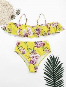 Ruffles Floral Off Shoulder High Waisted Bikini - Yellow S