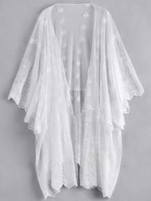 Open Front Embroidered Sheer Poncho Cover Up