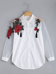 Embroidered Rose Applique Organza Panel BF Shirt - White M