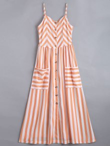 Button Up Striped Cami Dress - Stripe M