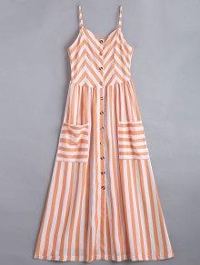 Button Up Striped Cami Dress - Stripe L