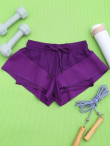 Pantalones Cortos De Doble Capa - Púrpura M