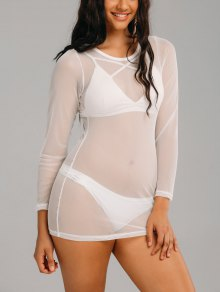 Mesh Long Sleeve See Through Cover Up Dress - White Xl
