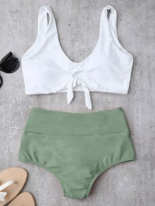 Knotted High Waisted Ruched Bikini Set - Light Green M