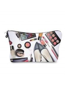 Buy 3D Cosmetics Print Clutch Makeup Bag - BLACK