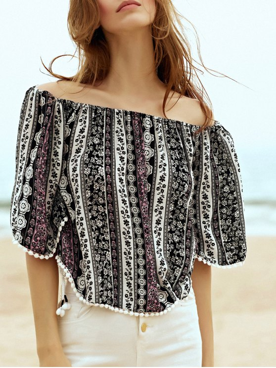 chic Printed Off the Shoulder Half Sleeve Blouse - BLACK L
