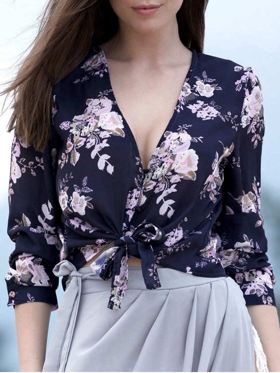 fancy Tied Floral Print Plunging Neck Long Sleeve Blouse - PURPLISH BLUE L