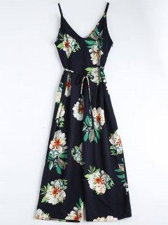 Floral Print Belted Cami Jumpsuit - Purplish Blue M