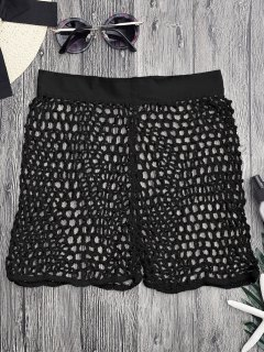 Crochet Fishnet Beach Cover Up Shorts - Black M