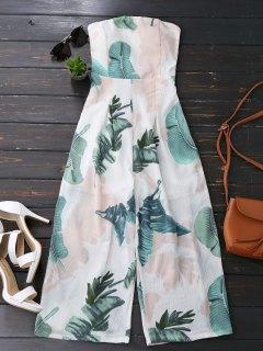 Leaves Print Strapless Jumpsuit - White L