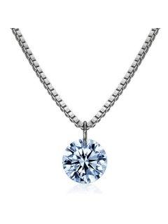 Faux Diamond Pendant Necklace - Blue