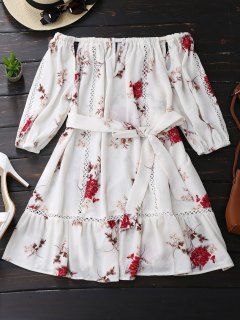 Floral Print Cut Out Belted Dress - White S